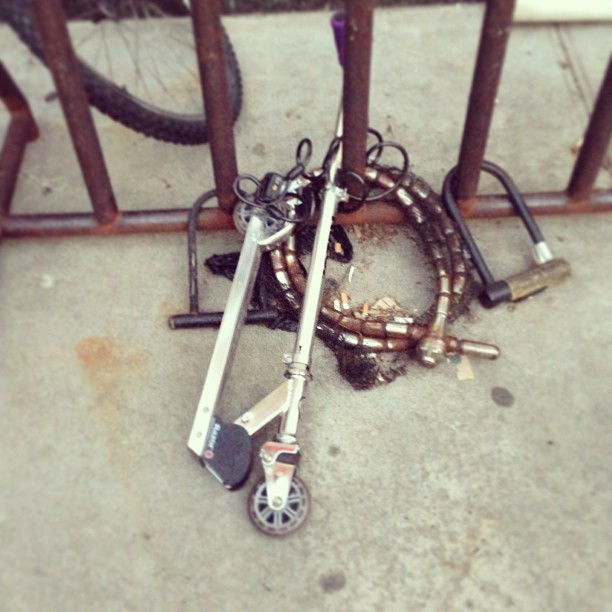 I found the most valuable razor scooter in the world. #tripplechained #soho #razorscooter