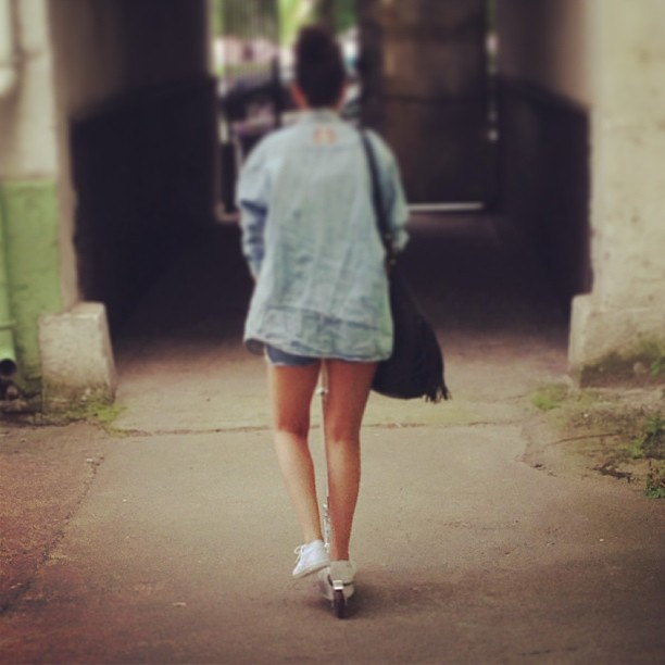 #running #through #the #streets #whit #my #kickscooter #kick #scooter #denim #new #white #sneakers #rolling #me