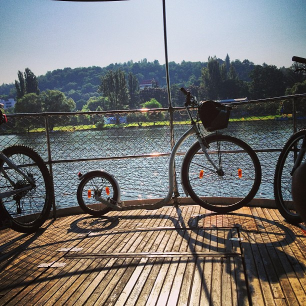 #Commuting by #ferry on #Vltava. #kickbike