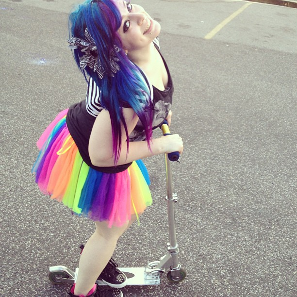 What I do at shows in between bands, whip out my razor scooter and tutu. #fuckit #idc #pplbegrillin #tututime #crazy