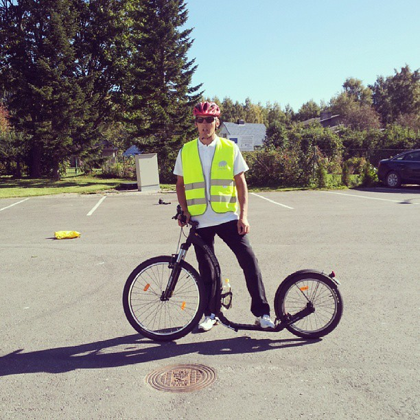 Today we tried to ride a mountain scooter Kickbike.