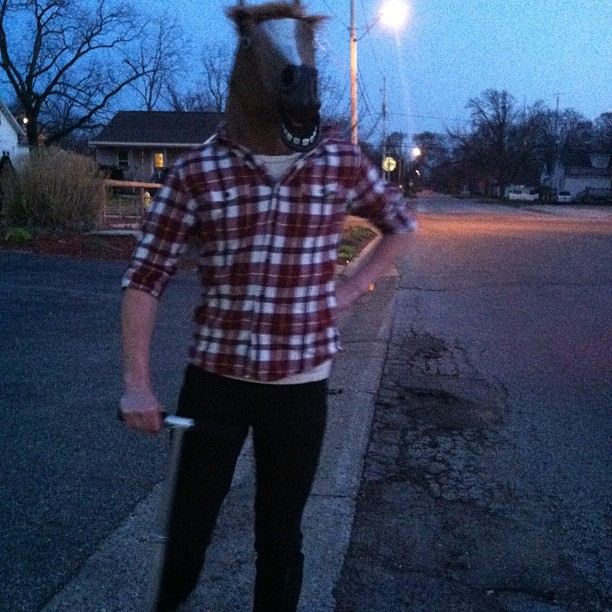 Can't wait to see this guy in about 13 hours<3 @bystandercody #horsemask #razorscooter #totalbabe
