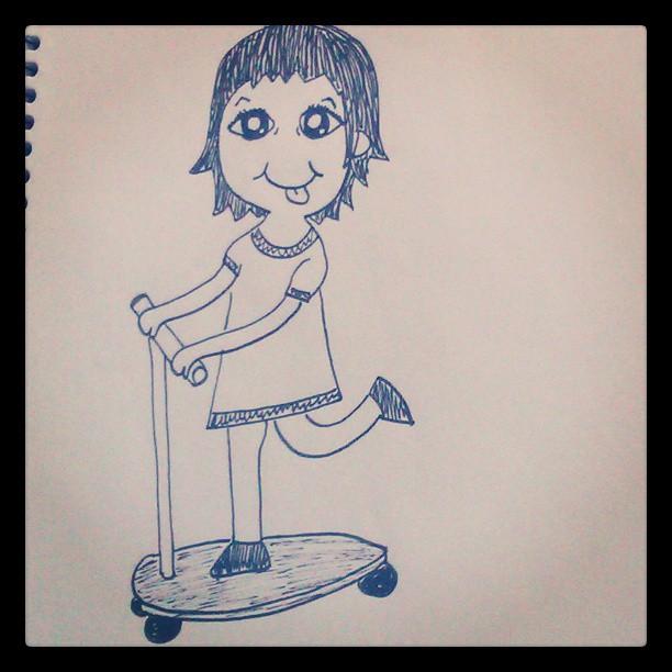 Ione #drawing #dibujines #dibujitos #patinete #happy