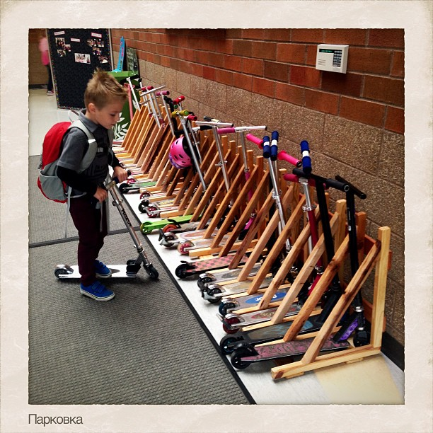 How cute is this scooter parking area at the school!!! Adrian is now in kindergarten!