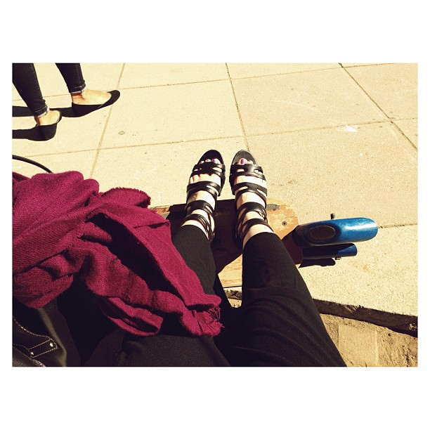 #latergram Pickup at the school yard. Sittin' on a bench with my kick scooter, trying to make sure no one trips over it.