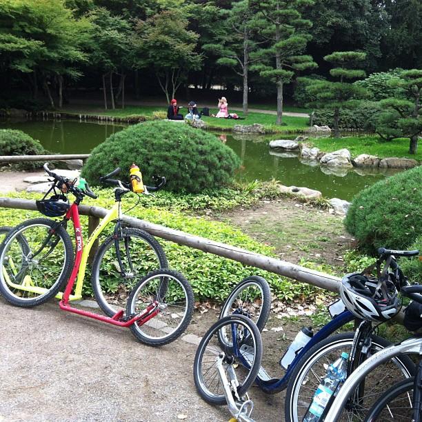 #kickbike #footbike tour in #düsseldorf , #japanese garden with mangas in the background