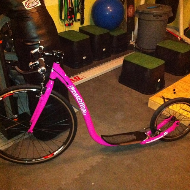 Dusted off my awesome pink #footbike today --- haven't been on it since April - perfect weather -- #sunny #70 in November !! People always ask me what a footbike is - now u know .. Amazing leg workout - kick and glide ... Exhausting - but fun !