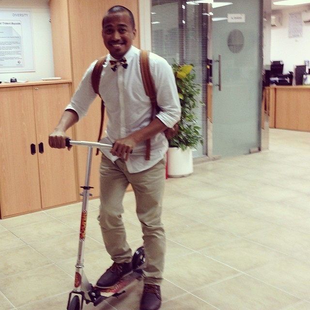 Who does that inside the office? #work #kickscooter