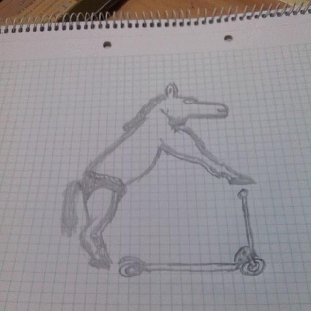 Cosas que dibujan mis clientes mientras esperan... #caballo #lobo #patinete #calzoncillos #rayada