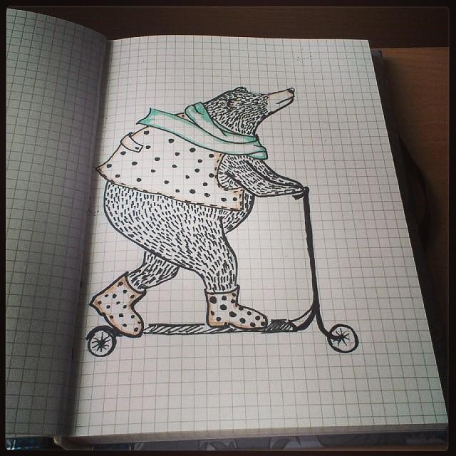#bear #art #draw #picture #paint #lol #cute #медведь #самокат #арт #рисунок #картинка #лол #мишка #ня