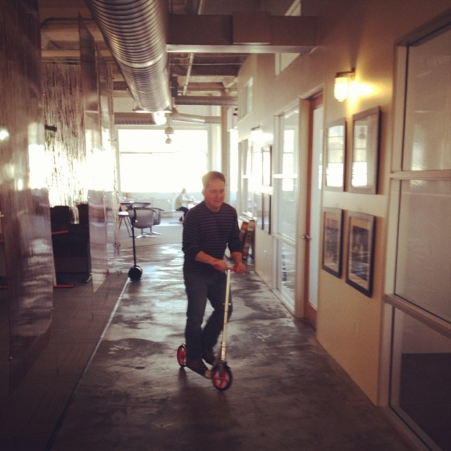 The most efficient way to get from one end of the office to the other. #razorscooter