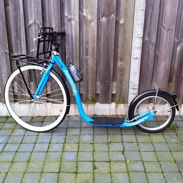 Really happy with my early birthday gift from hubbie my new kickbike with extra feature the walky dog