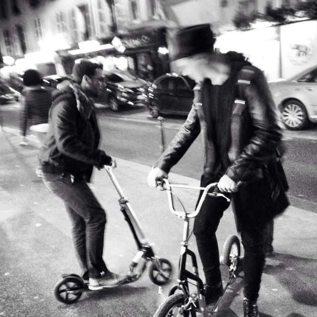 #trotinette #gang #blackandwhite #bnw #monochrome #monoart #insta_bw #bw #monotone #monochromatic #noir #white #paris #party #biker #swag