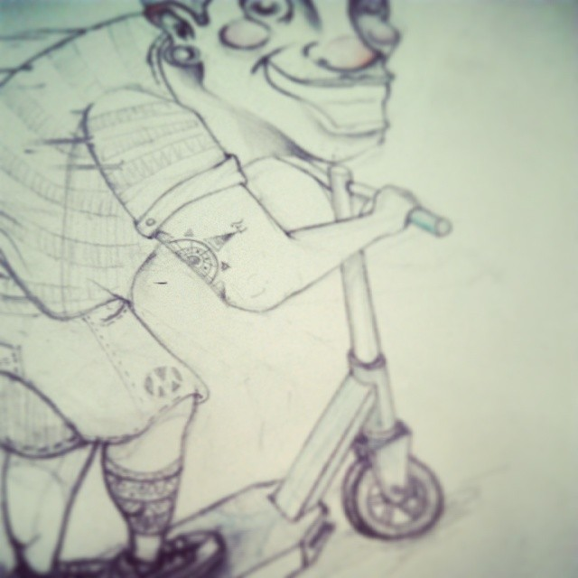 Postureo conseguido #bocetonight #sketching #sketch #graffiti #patinete #scooter #draw #drawing #pencil