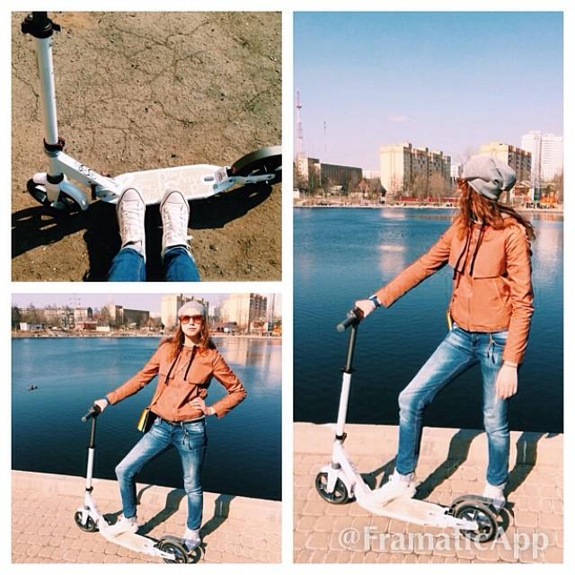 Когда у тебя есть взрослый самокат - ты становишься звездой детской площадки и неожиданностью для пешеходов!а сам довольным словно слон!  #самокат #москва #scooter #spring #goout #покатушки #vscocam #rolling #fan #weekend #kick